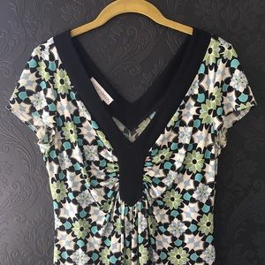 Maggy London floral green and black dress